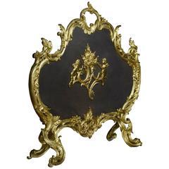 Rococo Style Gilt Bronze Fire Screen