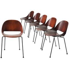 Leon Stynen Set of Six Belgian Dark Stained Bentwood Chairs