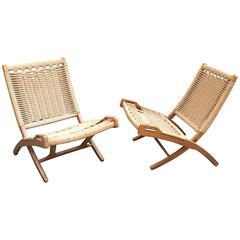 Pair of 1960s Hans Wegner Style Scissor Chairs