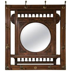 Oak Mirror with Hat Rack