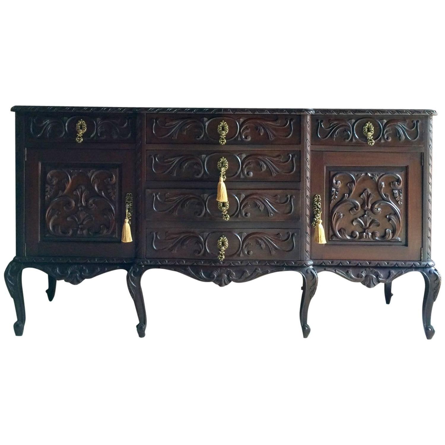 antique style sideboard credenza cabinet buffet spanish style carved at 1stdibs. Black Bedroom Furniture Sets. Home Design Ideas