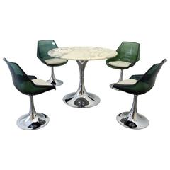 Chromed Tulip Dining Set with Green Marble Plate and Seat Shells, France, 1970s