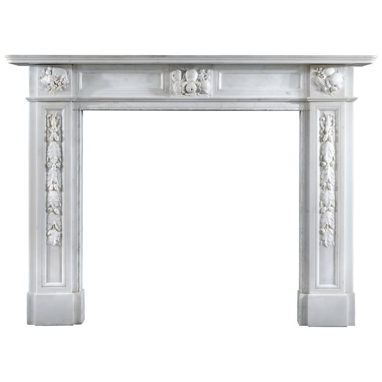 Victorian Statuary Marble Antique Fireplace Mantel
