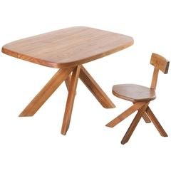 Pierre Chapo Writing Table and Chair in Patinated Elm