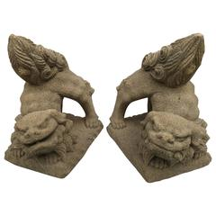 Early Japanese Stone Komainu Lion-Dog Guardians, Yokohama, 19th Century