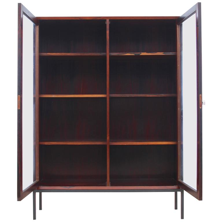 Mid Century Modern Danish Vitrine Bookcase In Rosewood For