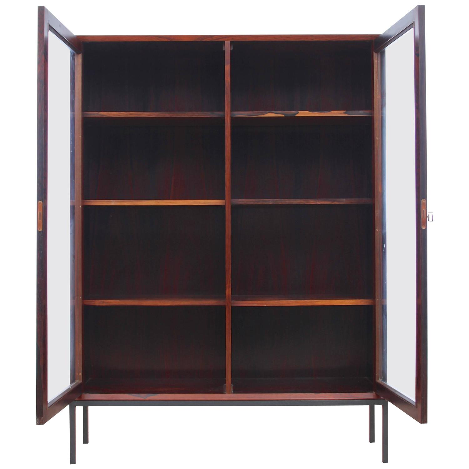 mid century modern danish vitrine bookcase in rosewood for sale at