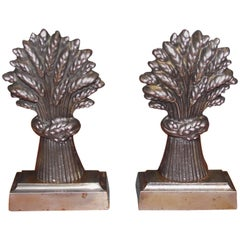 Pair of English Polished Steel Wheat Sheaths Book Ends, Circa 1840
