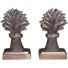Paar Bücherstützen im Stil von Weizengarben aus poliertem Stahl, England, ca. 1840