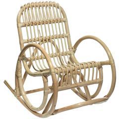 1950s Blonde Cane Rocking Chair