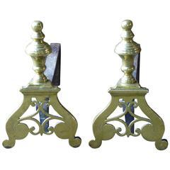 French Brass Andirons, Firedogs