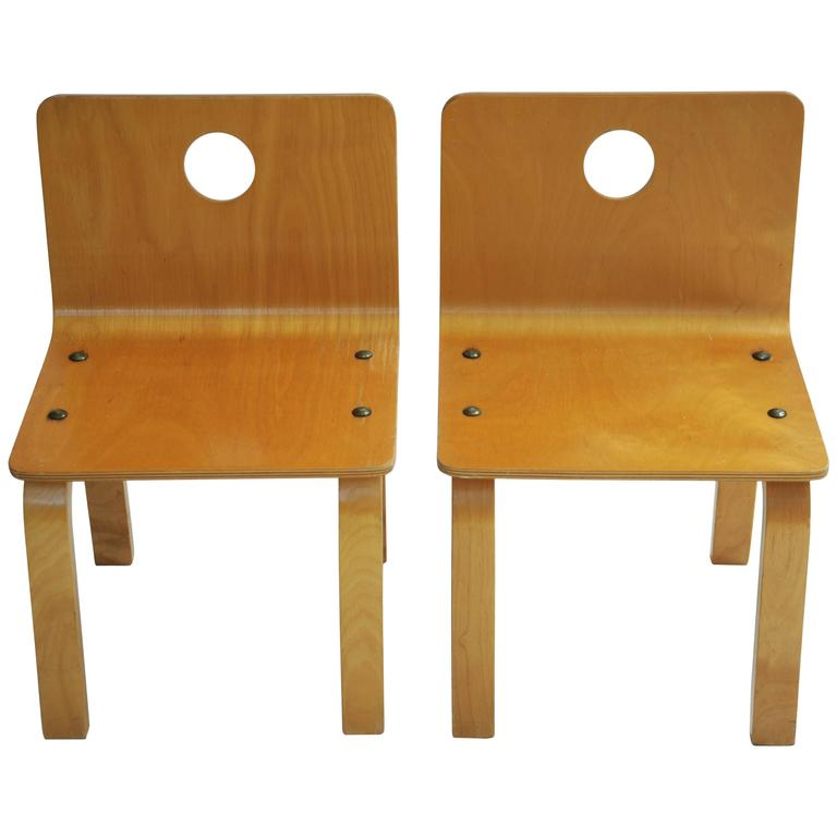 Pair of Circle Cut Out Child Chairs in Molded Plywood attributed