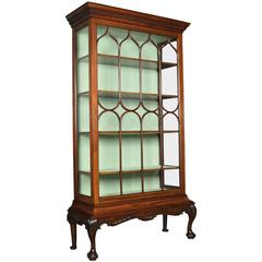 Large Chippendale Revival Single Door Display Cabinet