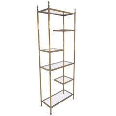 Hollywood Regency Étagère in Brass with Cantilevered Display Shelves