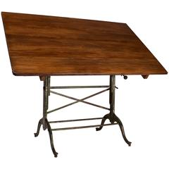 1920s American Cast Iron Drafting Table