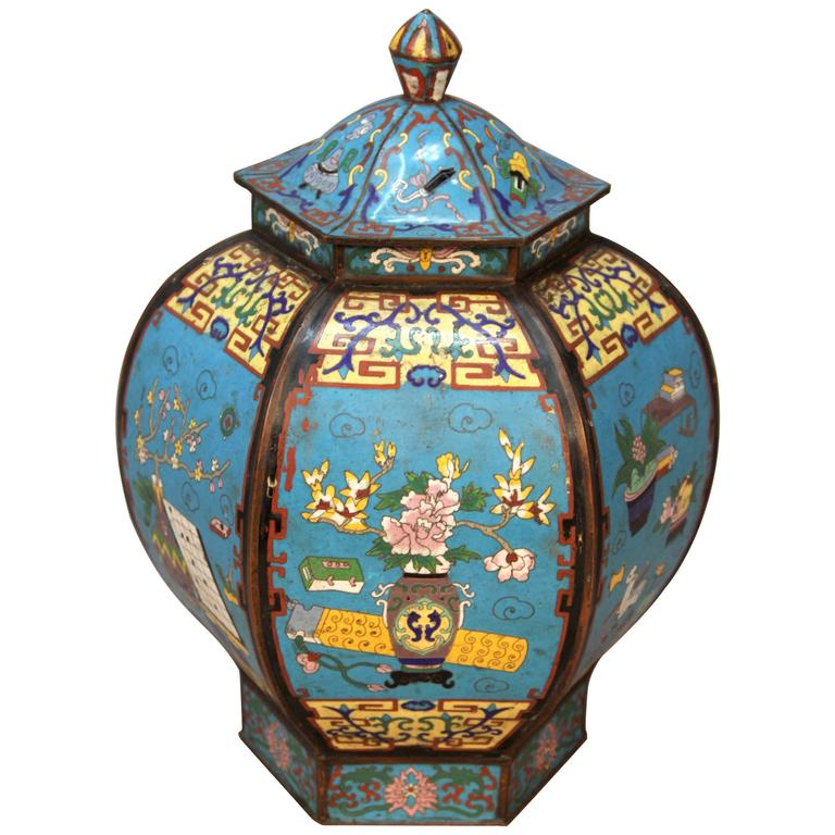 Antique 18th Century Imperial Chinese Cloisonné Urn
