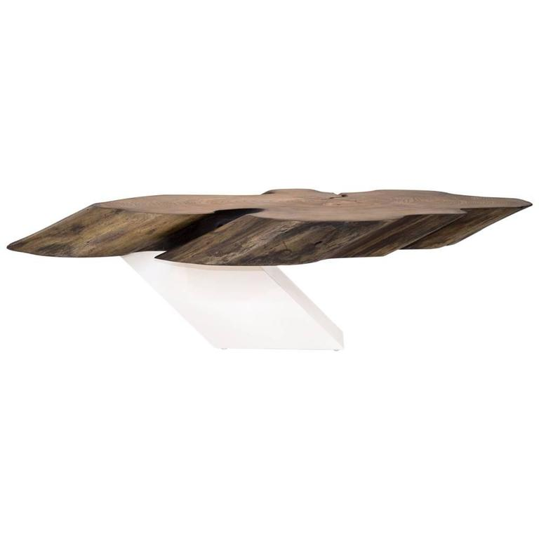 Sentient Zora Live Edge Coffee Table White Laminate Base