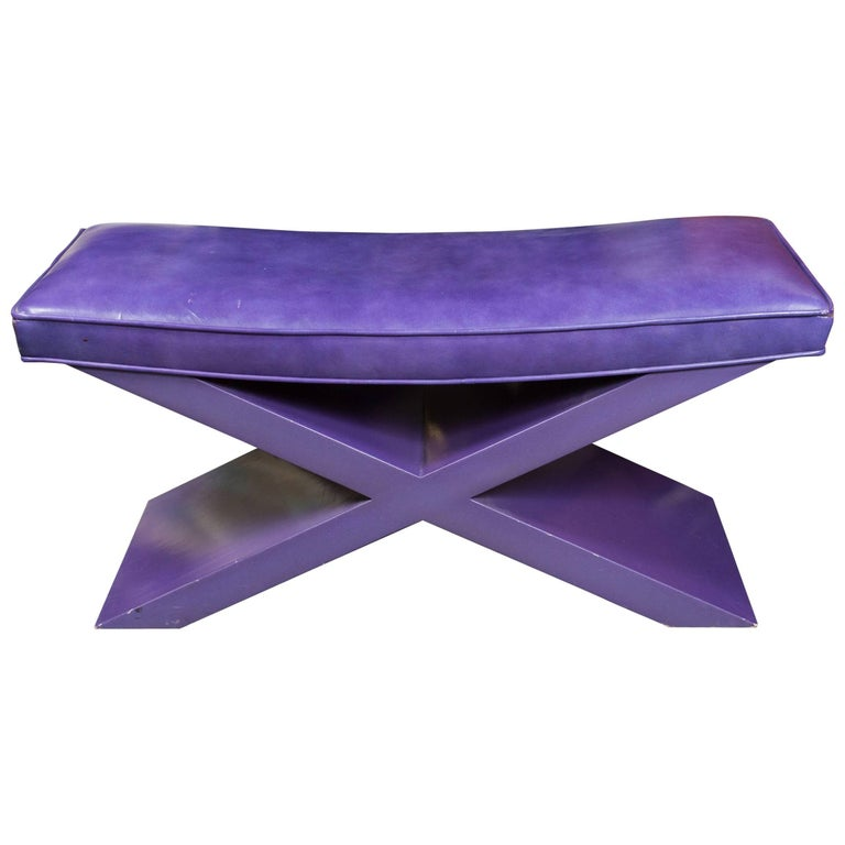 Modernist Purple Leather Bench