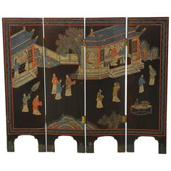 Four-Panel Chinese Coromandel Table Screen