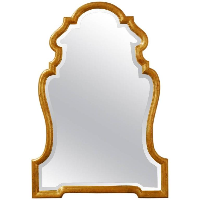 Italian Hollywood Regency Carved Giltwood Mirror Attributed to LaBarge