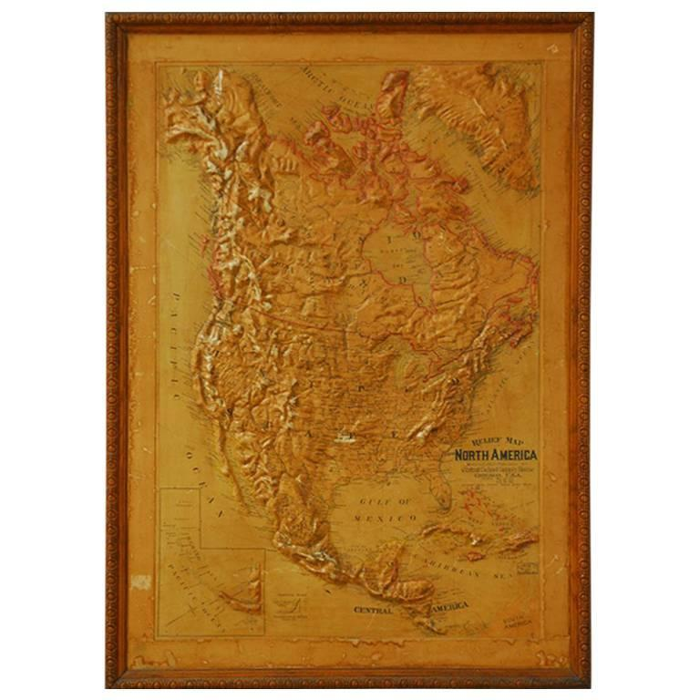 Framed Relief Map Of North America For Sale At Stdibs - North america relief map