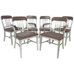 "Set of Six GoodForm Industrial Aluminum ""Navy"" Dining Chairs"