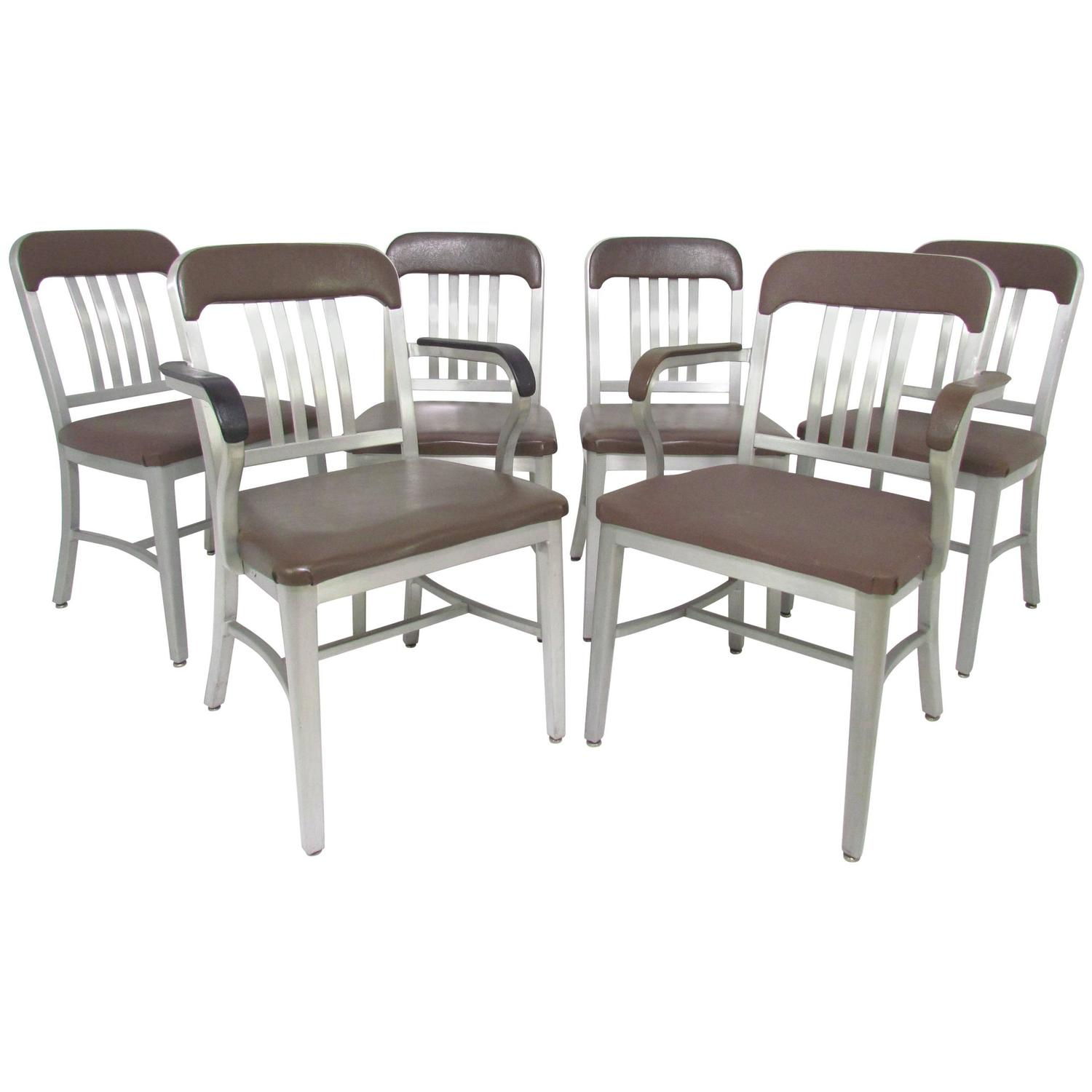 Set Of Six GoodForm Industrial Aluminum Navy Dining Chairs At 1st