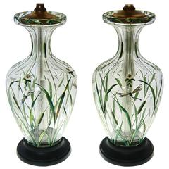 Pair of French Japonisme Crystal Dragonfly Lamps