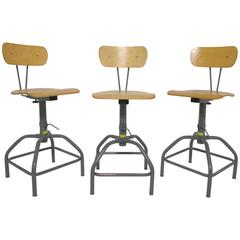 Set of Three Industrial Adjustable Height Laboratory (Bar) Stools, circa 1970s
