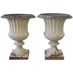 Pair of Cast Iron French Garden Urns