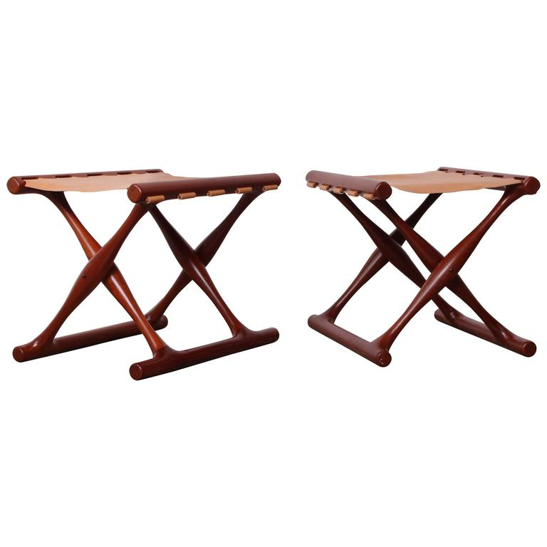 Pair of Teak and Leather Folding Stools by Poul Hundevad