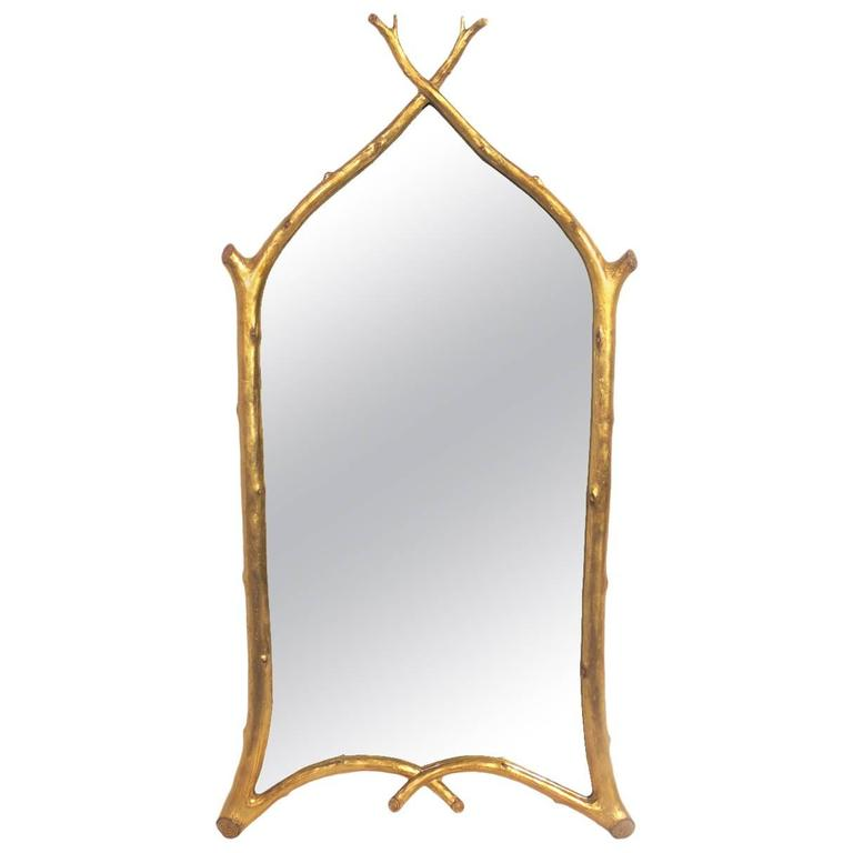 Gilt Branches Mirror By Carol Canner For Carvers Guild At
