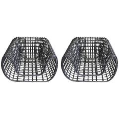 "Large Pair of Rattan ""Grid"" Club Chairs"