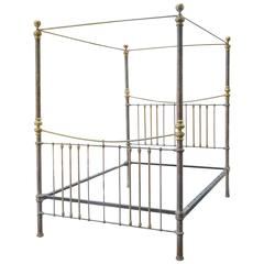 Rare Iron and Brass Queen Canopy Bed