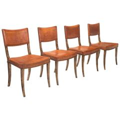 Carl Bergsten Attributed, 4 Swedish Purpleheart Inlaid Birch Chairs