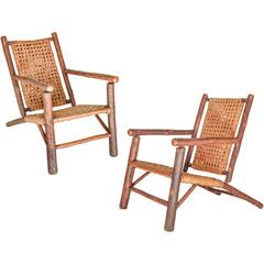 Rare Pair of Old Hickory Lounge Chairs