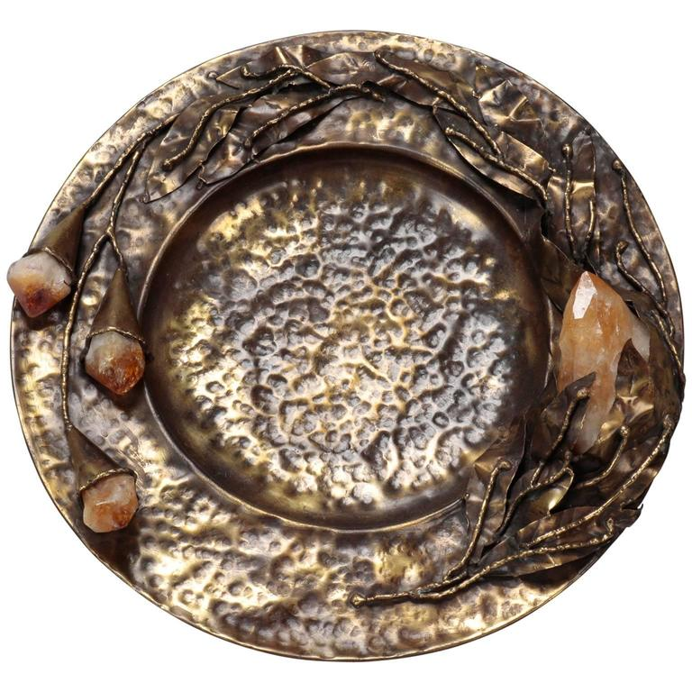 Artist Signed Hammered Bronze Plate with Flowers and Quartz Crystals For Sale