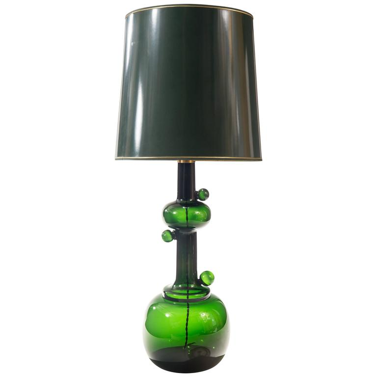 Michael Bang For Holmegaard Attributed Tall Green Glass Table Lamp