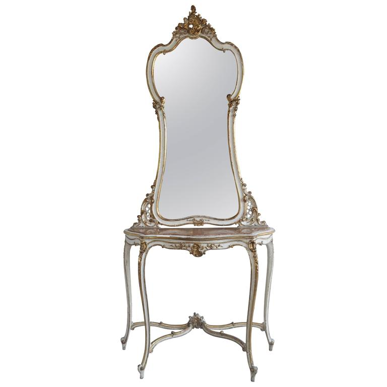 19th Century Louis XV Style Painted and Parcel-Gilt Console and Mirror For Sale