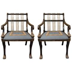 Pair of Large Neoclassical Ebonized Armchairs