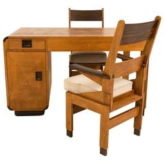 Rare Art Deco Haagse School Partner Desk and Two Armchairs by Anton Lucas