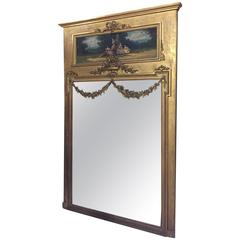 Antique 19th Century Trumeau Mirror with Oil Painting