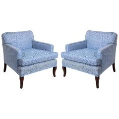 Pair of Low Slung Lounge Chairs with Curvaceous Legs