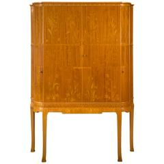 Carl Malmsten, Rare Swedish Marquetry, Satinwood and Birch Cabinet
