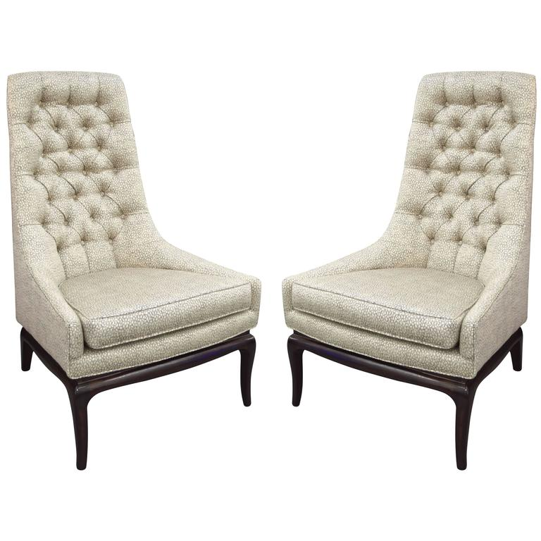 Pair of Tufted High Back Lounge Chairs 1
