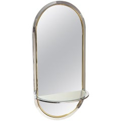 Pace Chrome and Brass Arched Racetrack Wall Mirror