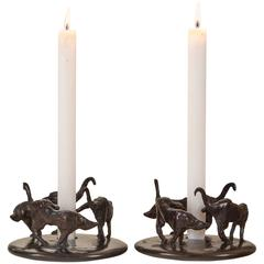 Hubert Le Gall, Pair of Patinated Bronze Ronde de Nuit Candlesticks