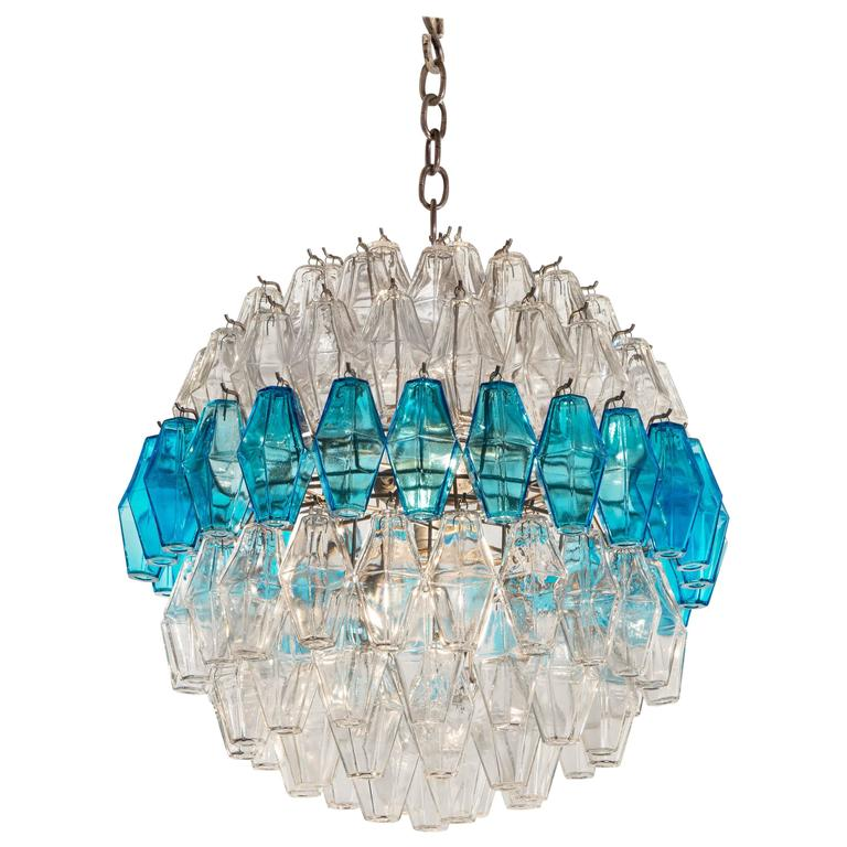 Rare Spherical Form Blue and Colorless Murano Glass Chandelier