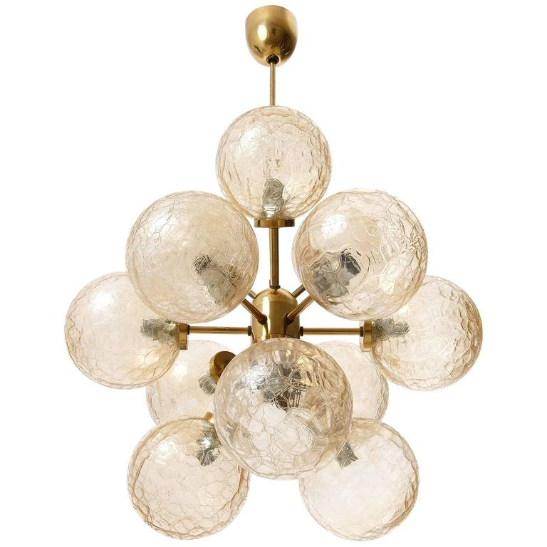 Sputnik Chandelier, Brass and Amber Glass, 1970
