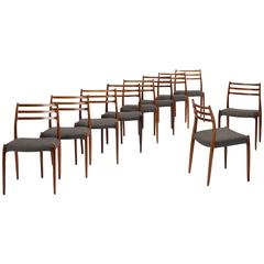 Set of Ten Dining Chairs by Niels O. Møller for J.L. Møllers Møbelfabrik